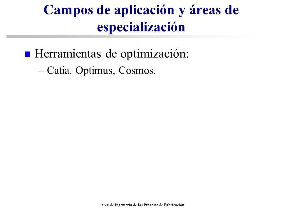 Area de Ingeniería de los Procesos de Fabricación Campos de aplicación y áreas de especialización n Herramientas de optimización: –Catia, Optimus, Cos