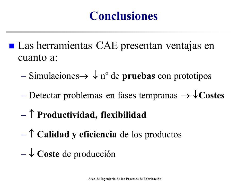 Area de Ingeniería de los Procesos de Fabricación Conclusiones n Las herramientas CAE presentan ventajas en cuanto a: –Simulaciones nº de pruebas con