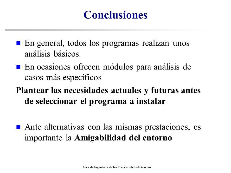 Conclusiones n En general, todos los programas realizan unos análisis básicos. n En ocasiones ofrecen módulos para análisis de casos más específicos P