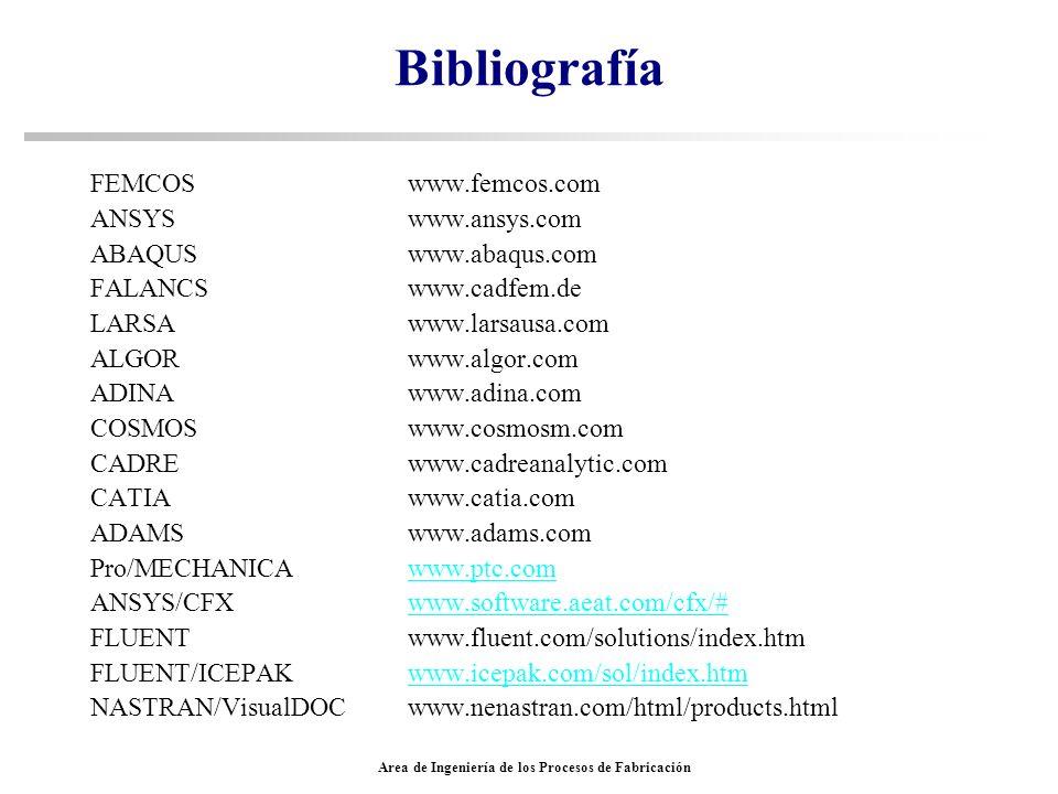 Area de Ingeniería de los Procesos de Fabricación Bibliografía FEMCOS www.femcos.com ANSYS www.ansys.com ABAQUS www.abaqus.com FALANCS www.cadfem.de L
