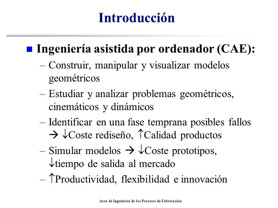Area de Ingeniería de los Procesos de Fabricación Herramientas comerciales existentes en el mercado n ABAQUS/CAE –Análisis de esfuerzos dinámicos y estáticos –Análisis de mecánica de fluidos –Análisis de transferencia de calor –Análisis termoeléctrico –Análisis de difusión de masa –Análisis en frecuencia –Análisis viscoelástico y plástico