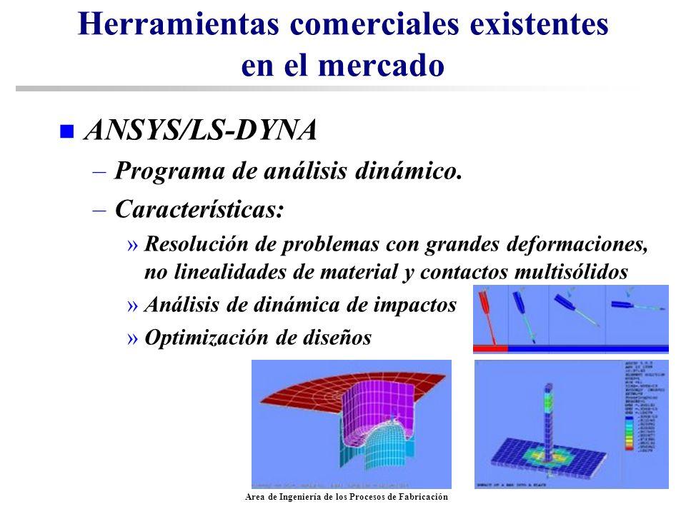 Area de Ingeniería de los Procesos de Fabricación Herramientas comerciales existentes en el mercado n ANSYS/LS-DYNA –Programa de análisis dinámico. –C