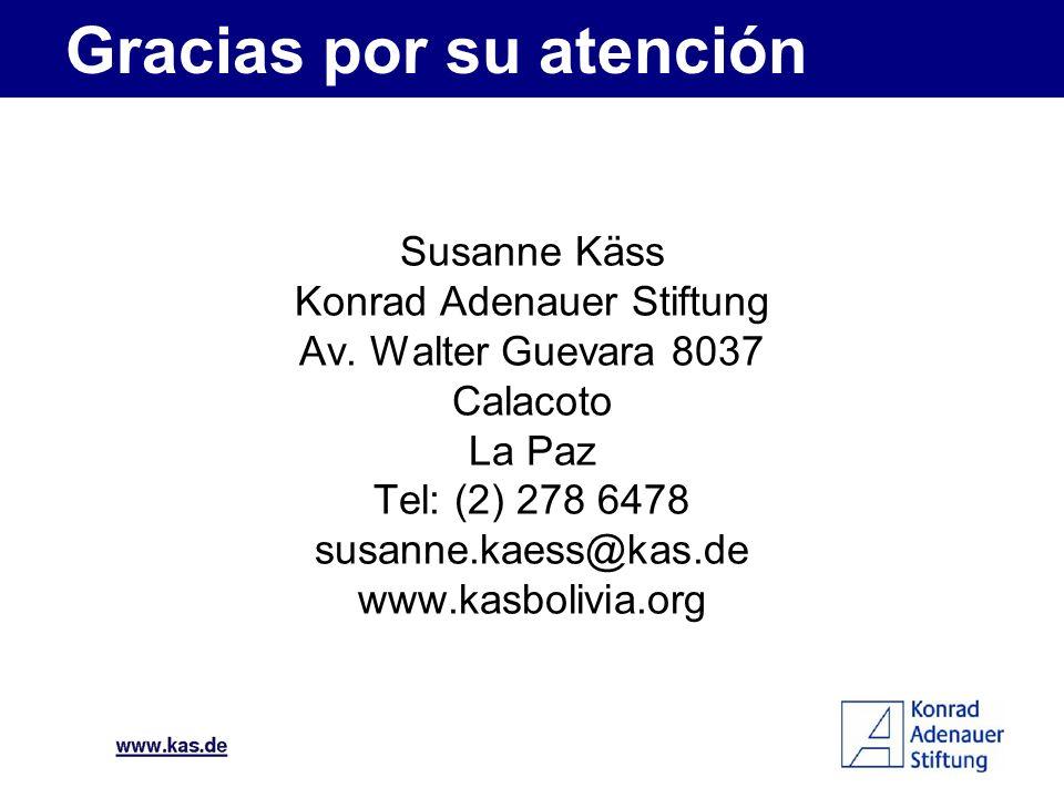Susanne Käss Konrad Adenauer Stiftung Av. Walter Guevara 8037 Calacoto La Paz Tel: (2) 278 6478 susanne.kaess@kas.de www.kasbolivia.org Gracias por su