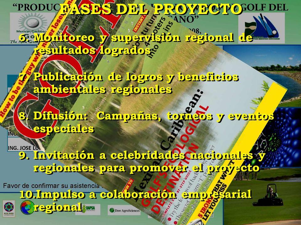 FASES DEL PROYECTO 6. Monitoreo y supervisión regional de resultados logrados 7. Publicación de logros y beneficios ambientales regionales 8. Difusión