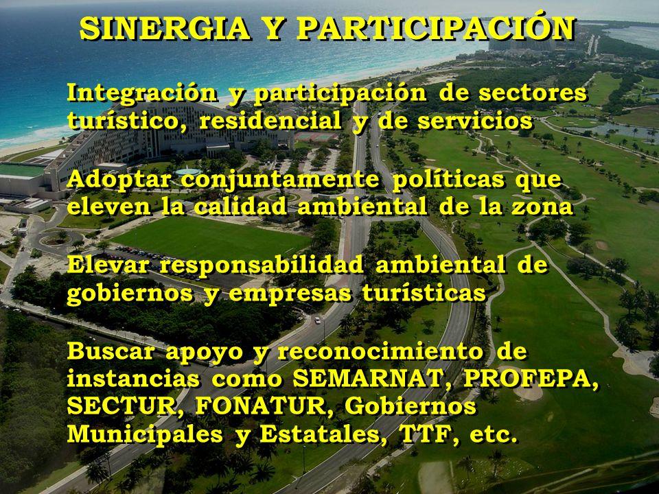 Integración y participación de sectores turístico, residencial y de servicios Adoptar conjuntamente políticas que eleven la calidad ambiental de la zo