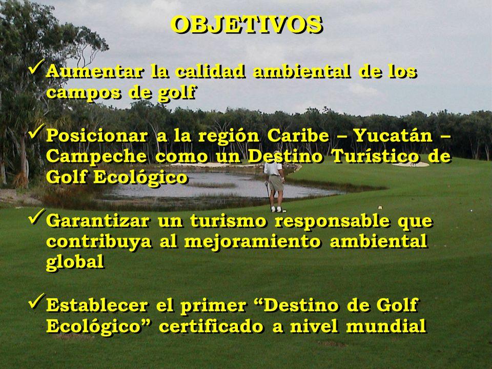 Aumentar la calidad ambiental de los campos de golf Posicionar a la región Caribe – Yucatán – Campeche como un Destino Turístico de Golf Ecológico Gar