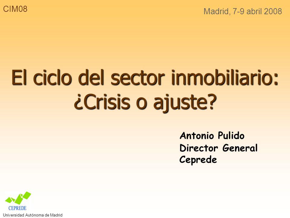 CIM08 Madrid, 7-9 abril 2008 El ciclo del sector inmobiliario: ¿Crisis o ajuste.