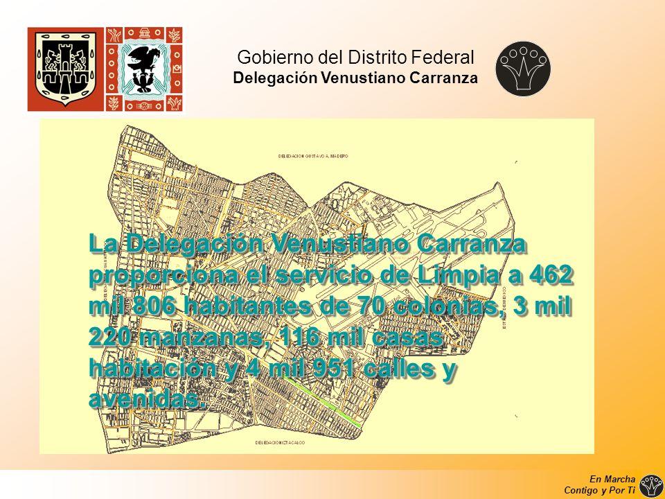 Gobierno del Distrito Federal Delegación Venustiano Carranza La Delegación Venustiano Carranza proporciona el servicio de Limpia a 462 mil 806 habitan