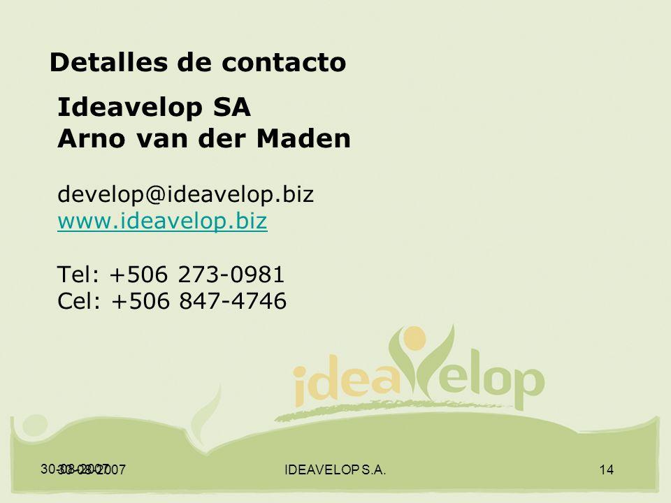 30-08-2007 IDEAVELOP S.A.14 Detalles de contacto Ideavelop SA Arno van der Maden develop@ideavelop.biz www.ideavelop.biz Tel: +506 273-0981 Cel: +506 847-4746