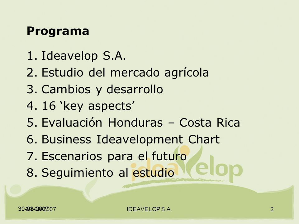 30-08-2007 IDEAVELOP S.A.2 Programa 1.Ideavelop S.A.