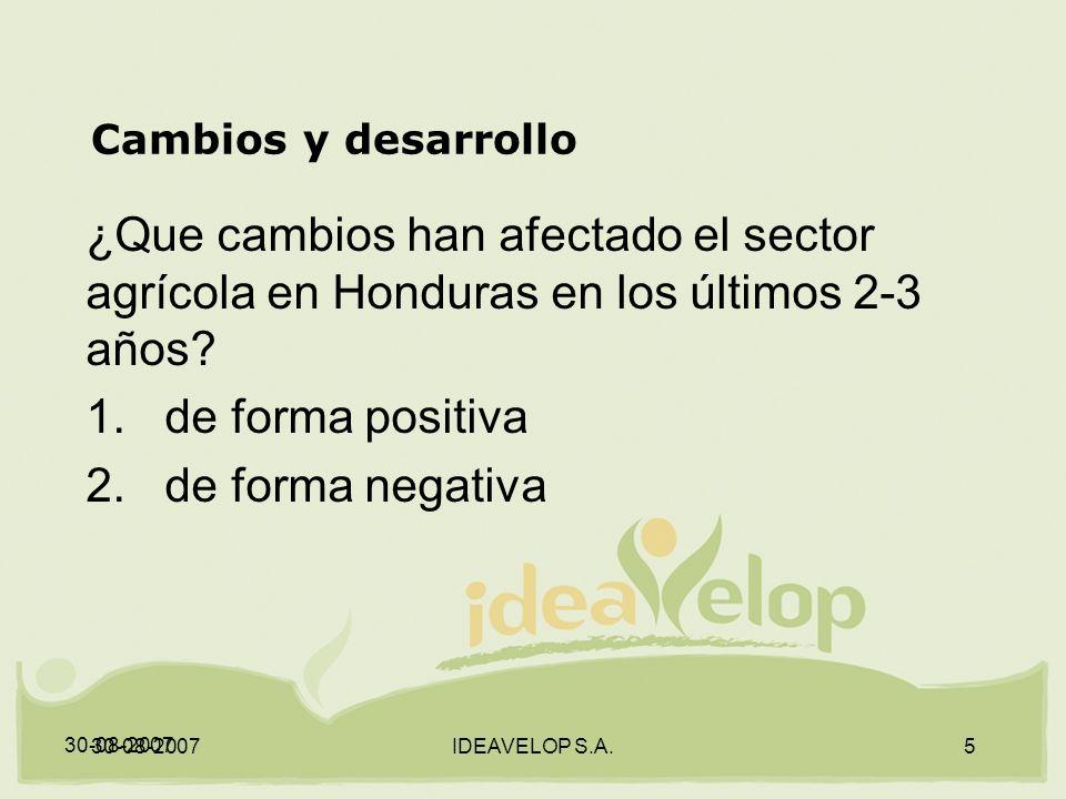 30-08-2007 IDEAVELOP S.A.5 Cambios y desarrollo ¿Que cambios han afectado el sector agrícola en Honduras en los últimos 2-3 años.