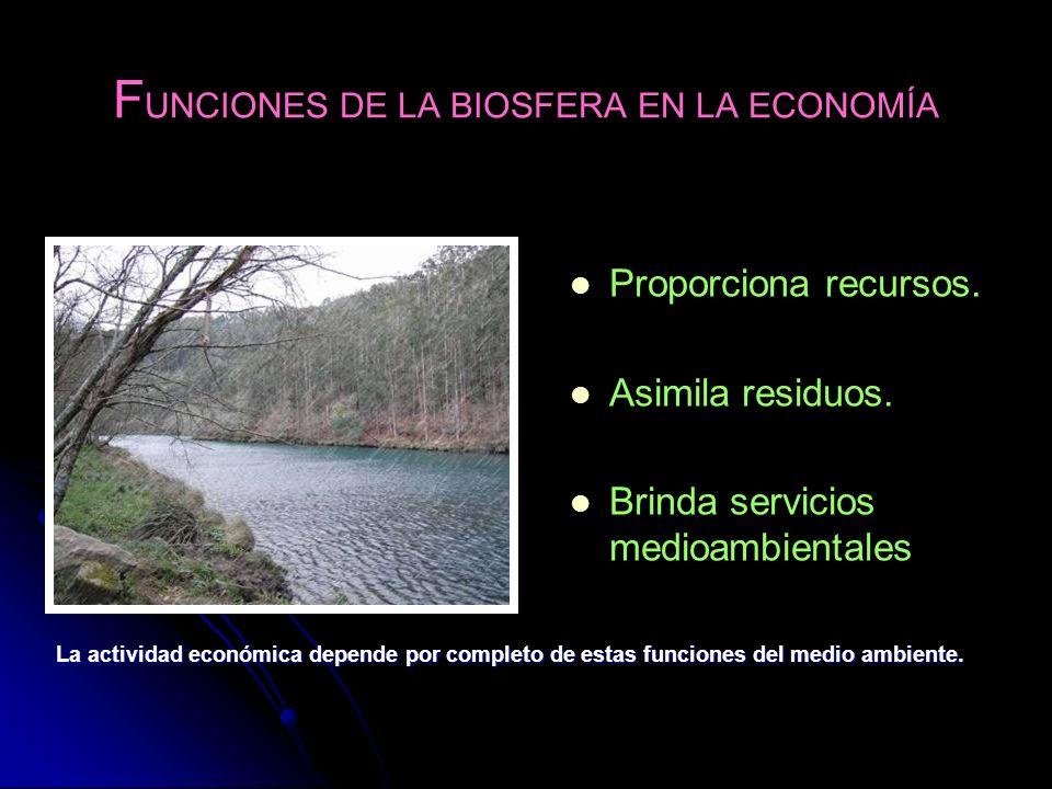 F UNCIONES DE LA BIOSFERA EN LA ECONOMÍA Proporciona recursos. Asimila residuos. Brinda servicios medioambientales La actividad económica depende por