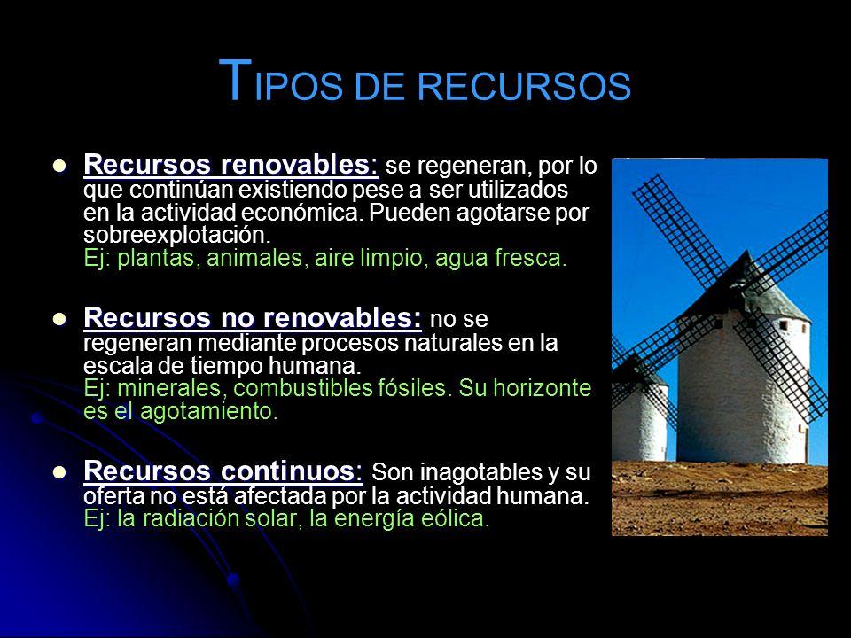 T IPOS DE RECURSOS Recursos renovables: Recursos renovables: se regeneran, por lo que continúan existiendo pese a ser utilizados en la actividad econó