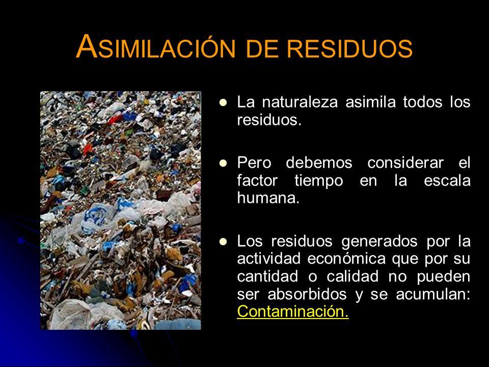 A SIMILACIÓN DE RESIDUOS La naturaleza asimila todos los residuos. Pero debemos considerar el factor tiempo en la escala humana. Los residuos generado