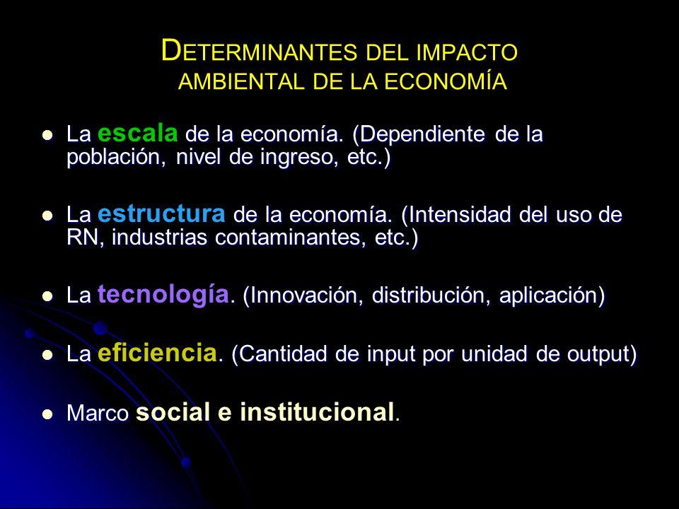 D ETERMINANTES DEL IMPACTO AMBIENTAL DE LA ECONOMÍA La de la economía. (Dependiente de la población, nivel de ingreso, etc.) La escala de la economía.