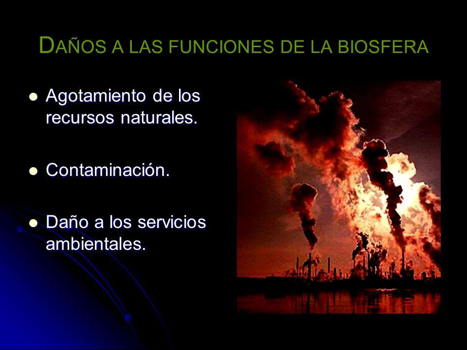 D AÑOS A LAS FUNCIONES DE LA BIOSFERA Agotamiento de los recursos naturales. Agotamiento de los recursos naturales. Contaminación. Contaminación. Daño