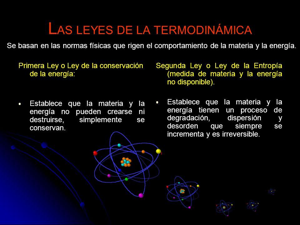 L AS LEYES DE LA TERMODINÁMICA Primera Ley o Ley de la conservación de la energía: Establece que la materia y la energía no pueden crearse ni destruir