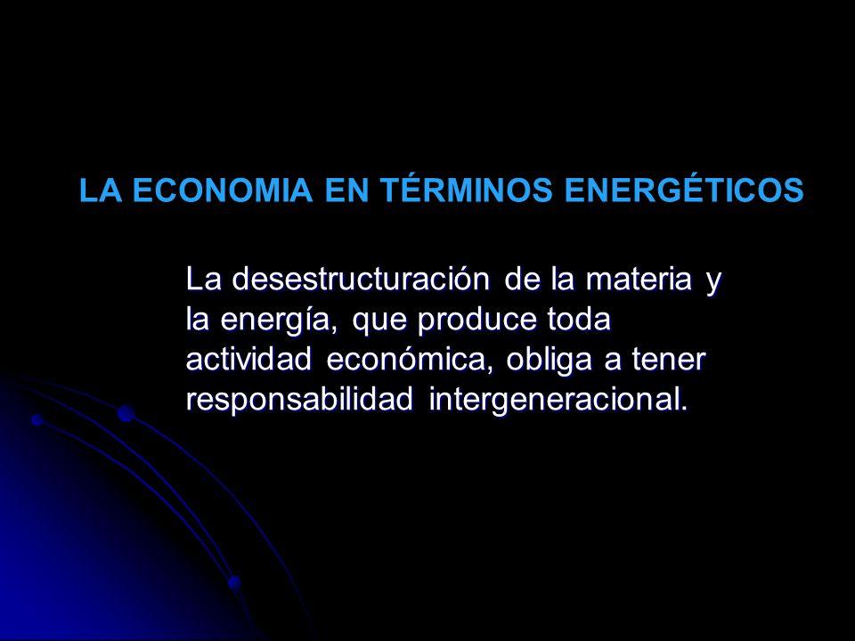LA ECONOMIA EN TÉRMINOS ENERGÉTICOS La desestructuración de la materia y la energía, que produce toda actividad económica, obliga a tener responsabili