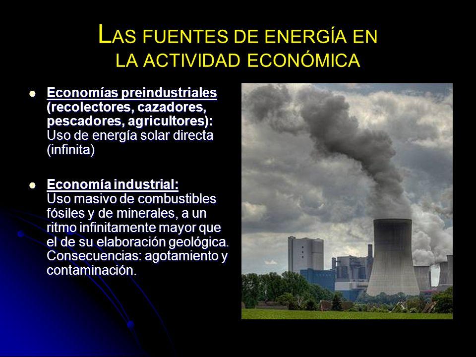 L AS FUENTES DE ENERGÍA EN LA ACTIVIDAD ECONÓMICA Economías preindustriales (recolectores, cazadores, pescadores, agricultores): Uso de energía solar