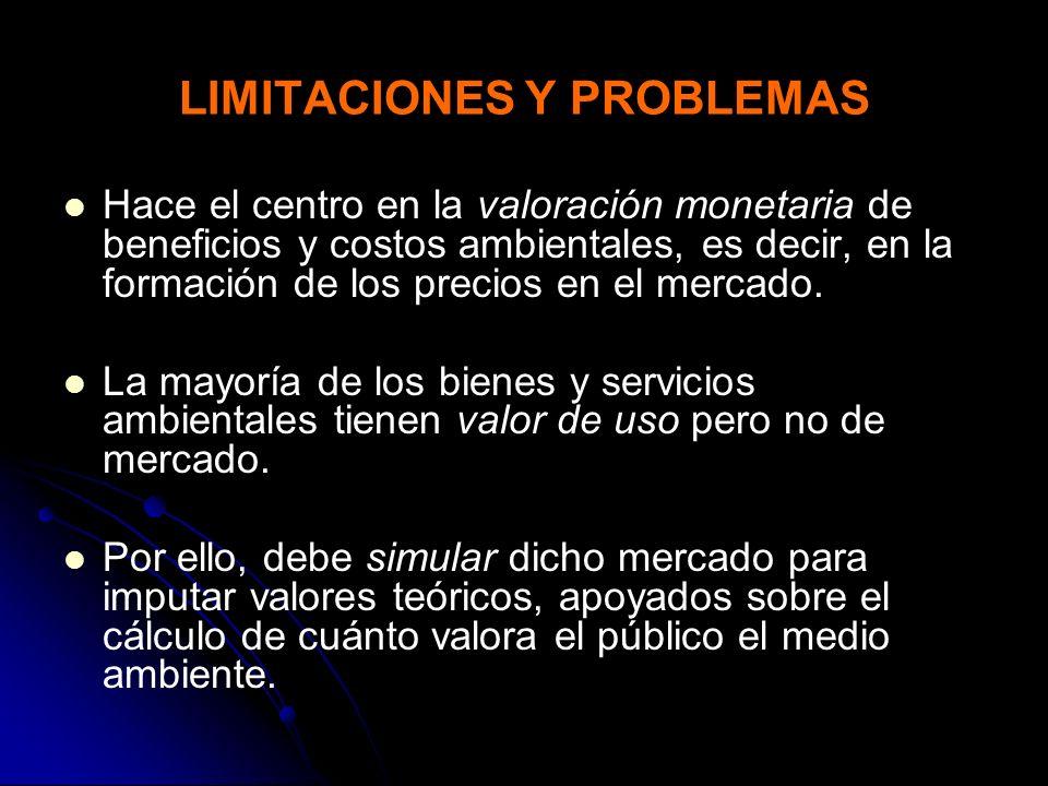 LIMITACIONES Y PROBLEMAS Hace el centro en la valoración monetaria de beneficios y costos ambientales, es decir, en la formación de los precios en el