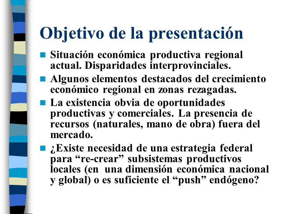 Objetivo de la presentación Situación económica productiva regional actual.