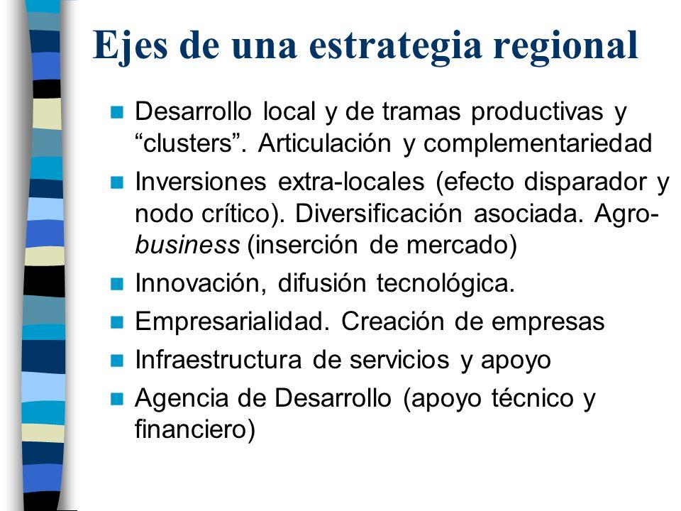Ejes de una estrategia regional Desarrollo local y de tramas productivas y clusters.