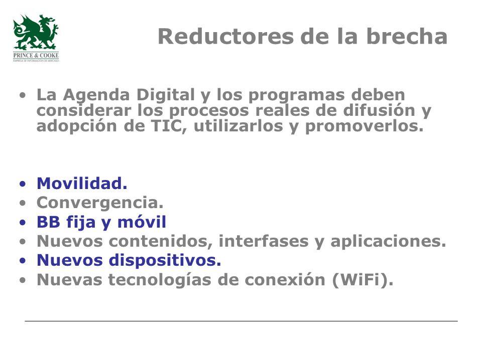La Agenda Digital y los programas deben considerar los procesos reales de difusión y adopción de TIC, utilizarlos y promoverlos.
