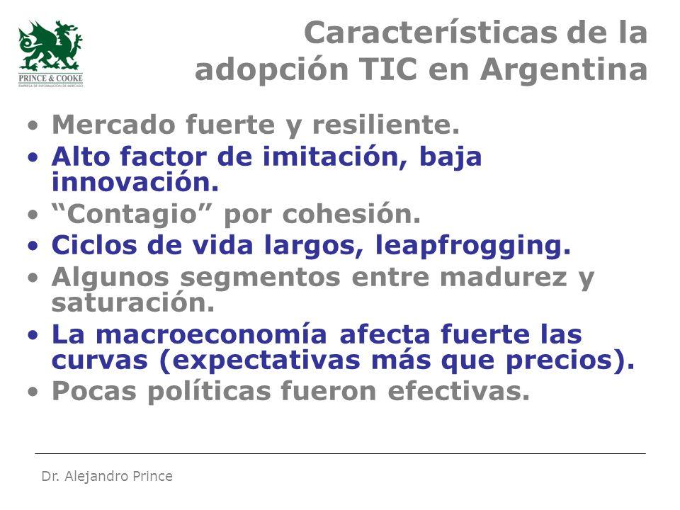 Dr. Alejandro Prince Características de la adopción TIC en Argentina Mercado fuerte y resiliente.