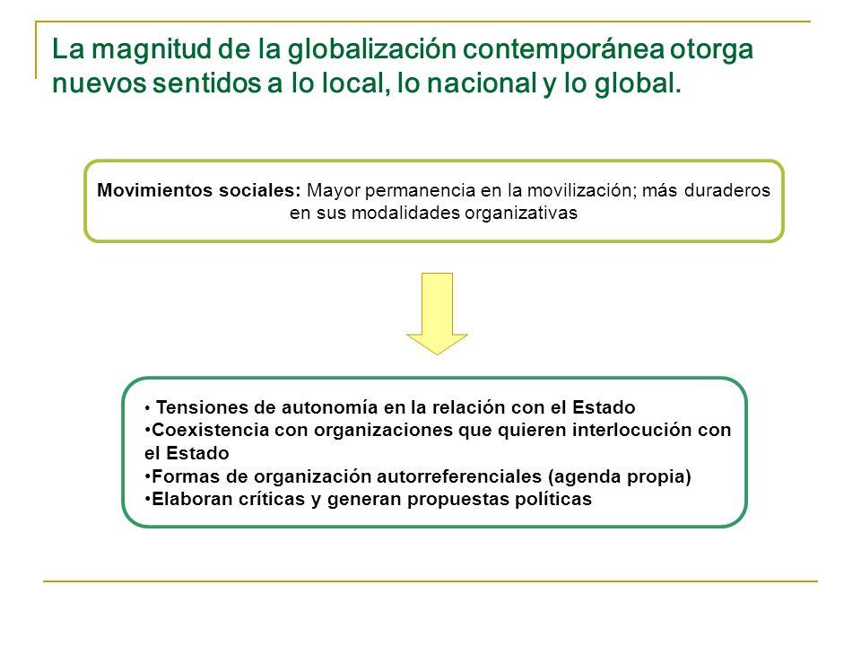 La magnitud de la globalización contemporánea otorga nuevos sentidos a lo local, lo nacional y lo global. Movimientos sociales: Mayor permanencia en l