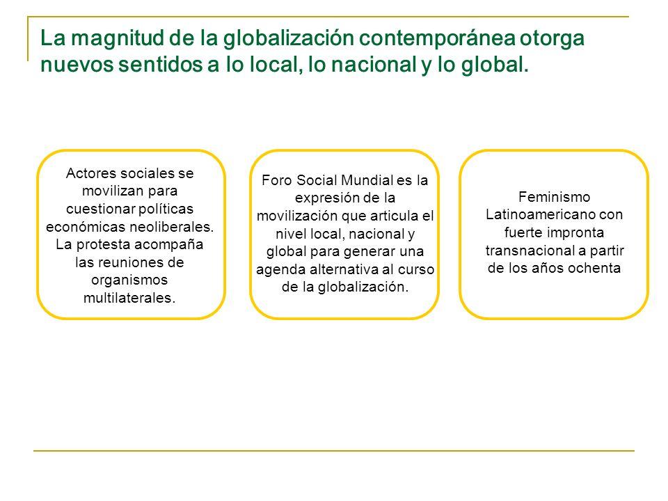 La magnitud de la globalización contemporánea otorga nuevos sentidos a lo local, lo nacional y lo global. Feminismo Latinoamericano con fuerte impront