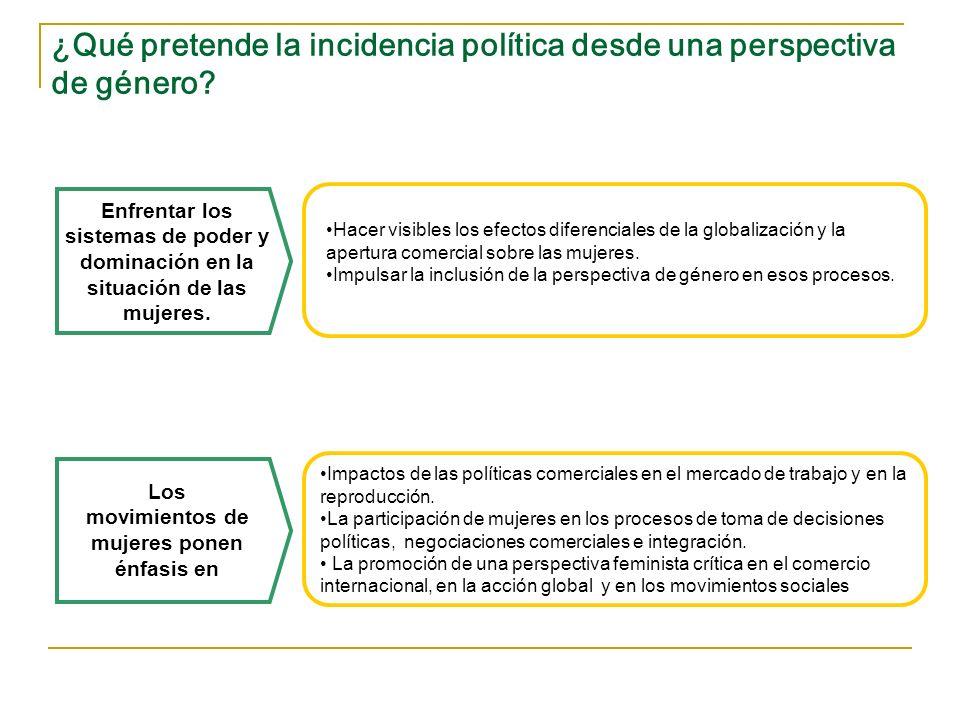 ¿Qué pretende la incidencia política desde una perspectiva de género? Impactos de las políticas comerciales en el mercado de trabajo y en la reproducc