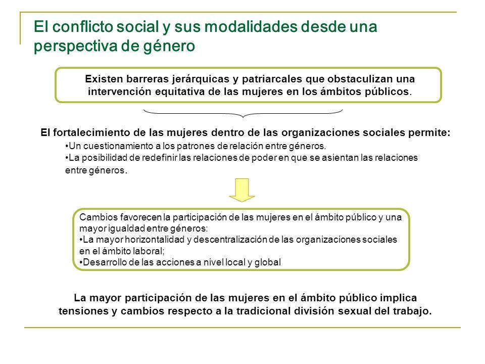 El conflicto social y sus modalidades desde una perspectiva de género Existen barreras jerárquicas y patriarcales que obstaculizan una intervención eq