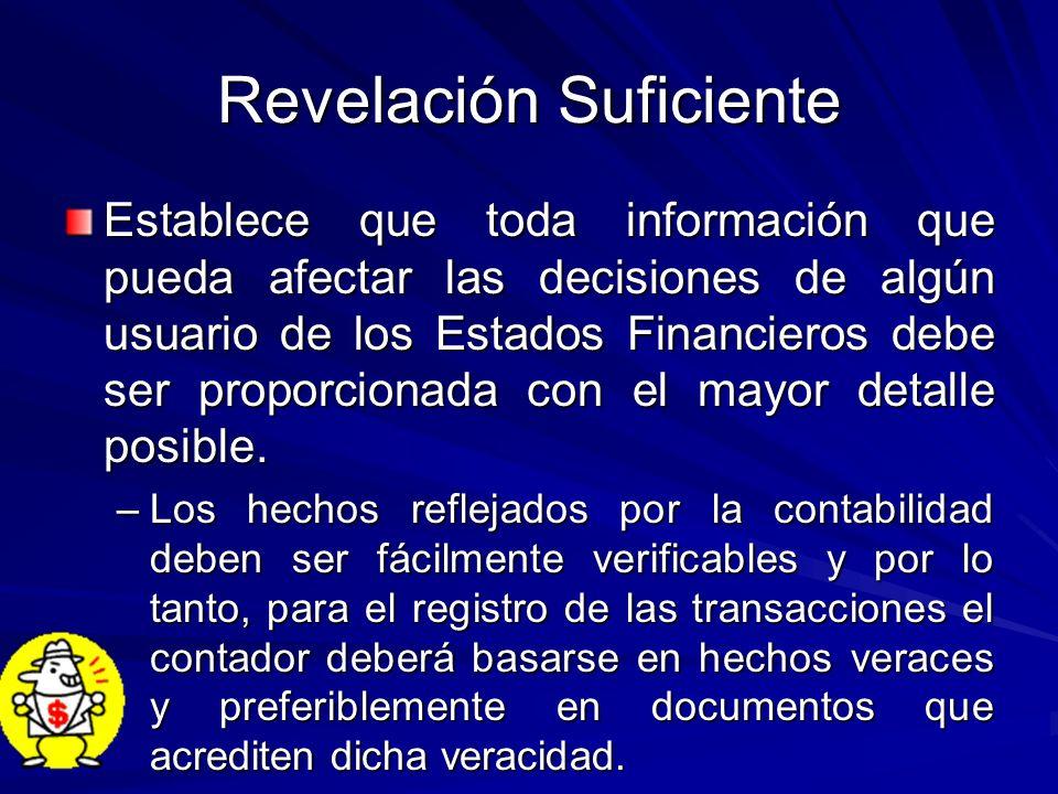 Revelación Suficiente Establece que toda información que pueda afectar las decisiones de algún usuario de los Estados Financieros debe ser proporciona