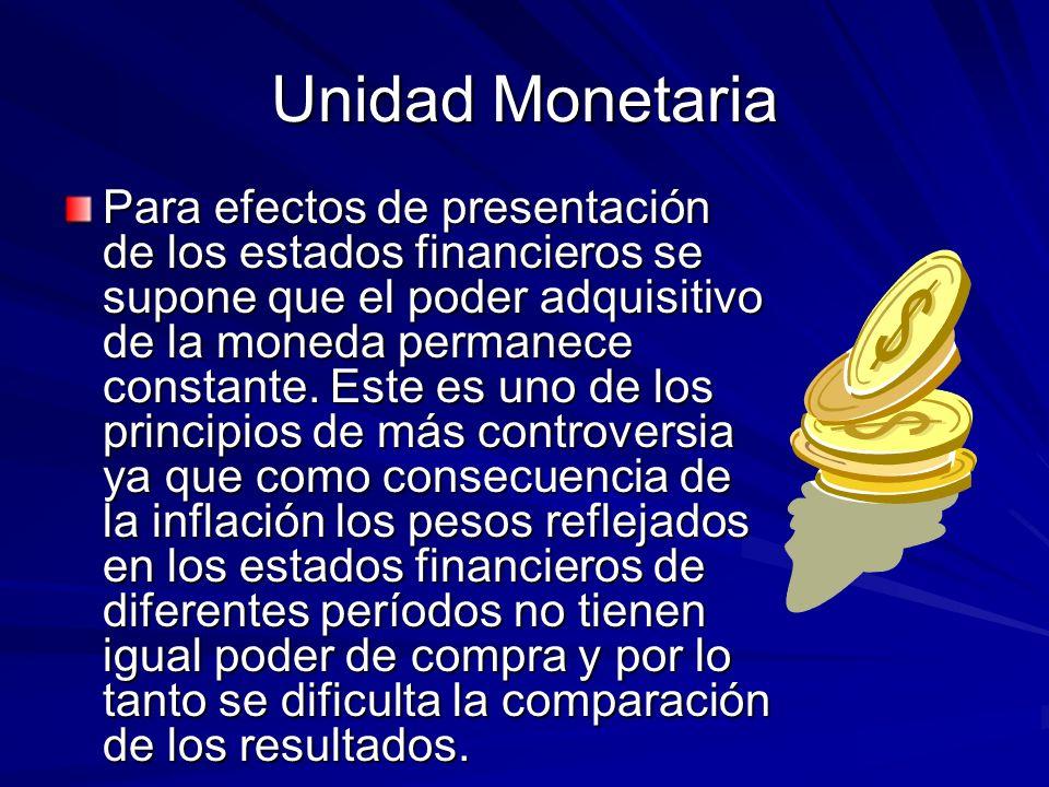 Unidad Monetaria Para efectos de presentación de los estados financieros se supone que el poder adquisitivo de la moneda permanece constante. Este es