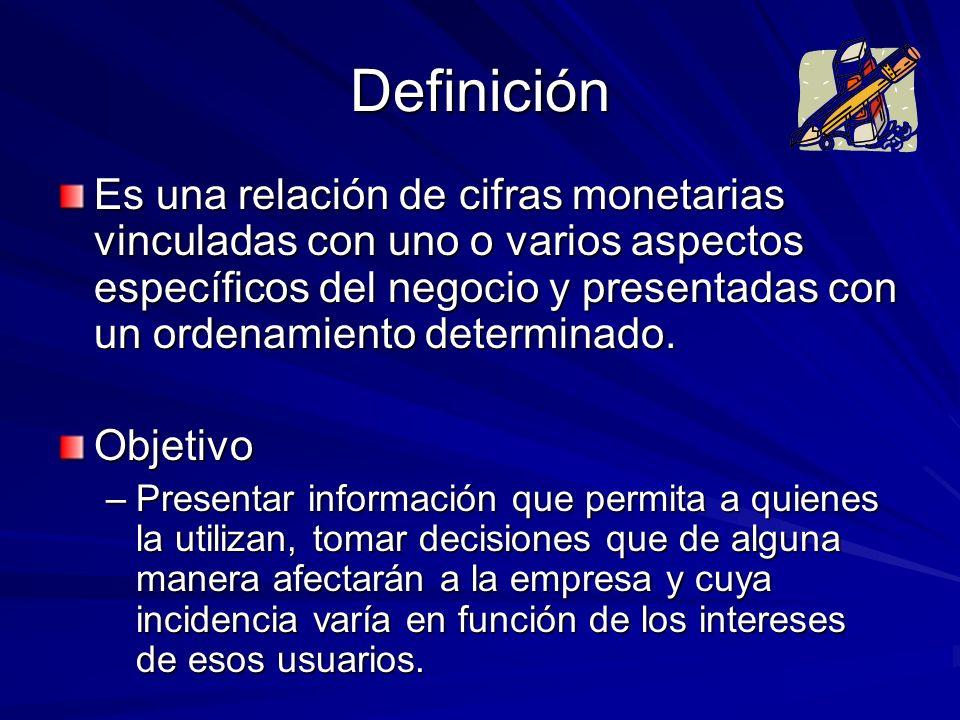 Definición Es una relación de cifras monetarias vinculadas con uno o varios aspectos específicos del negocio y presentadas con un ordenamiento determi