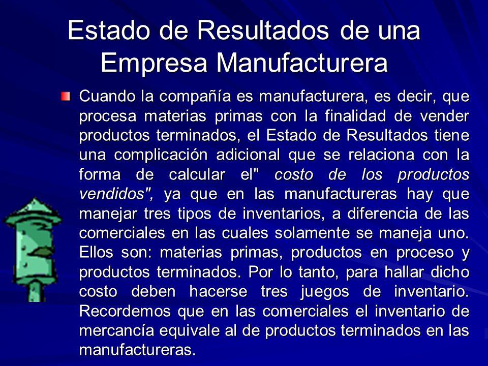 Estado de Resultados de una Empresa Manufacturera Cuando la compañía es manufacturera, es decir, que procesa materias primas con la finalidad de vende