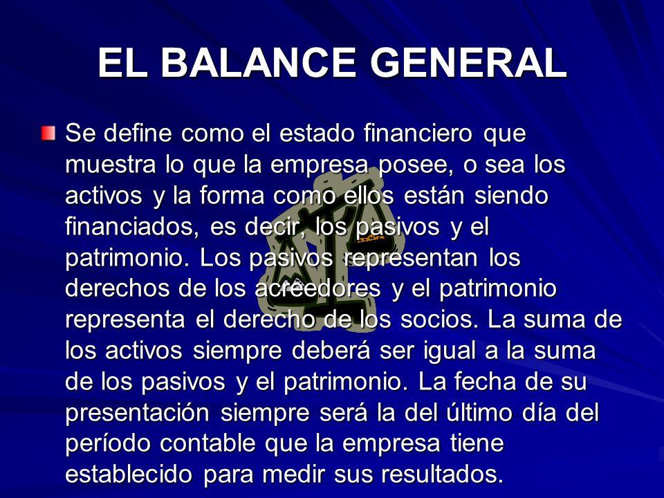EL BALANCE GENERAL Se define como el estado financiero que muestra lo que la empresa posee, o sea los activos y la forma como ellos están siendo finan