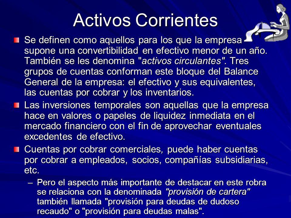 Activos Corrientes Se definen como aquellos para los que la empresa supone una convertibilidad en efectivo menor de un año. También se les denomina