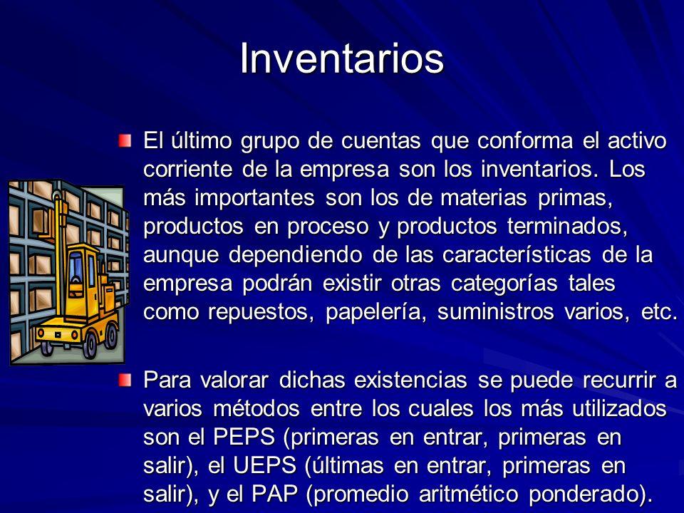 Inventarios El último grupo de cuentas que conforma el activo corriente de la empresa son los inventarios. Los más importantes son los de materias pri