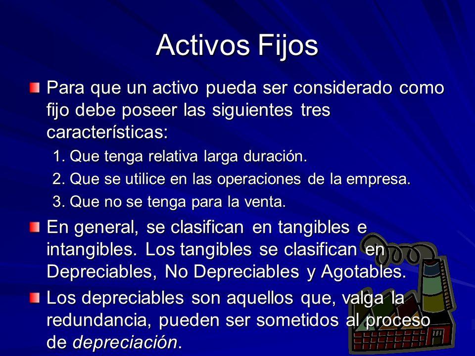Activos Fijos Para que un activo pueda ser considerado como fijo debe poseer las siguientes tres características: 1. Que tenga relativa larga duración