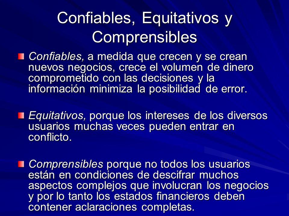 Confiables, Equitativos y Comprensibles Confiables, a medida que crecen y se crean nuevos negocios, crece el volumen de dinero comprometido con las de