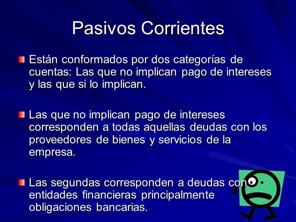 Pasivos Corrientes Están conformados por dos categorías de cuentas: Las que no implican pago de intereses y las que si lo implican. Las que no implica