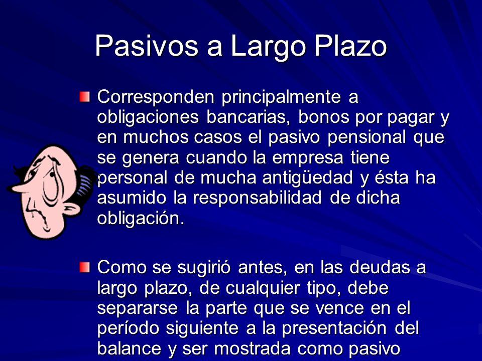 Pasivos a Largo Plazo Corresponden principalmente a obligaciones bancarias, bonos por pagar y en muchos casos el pasivo pensional que se genera cuando