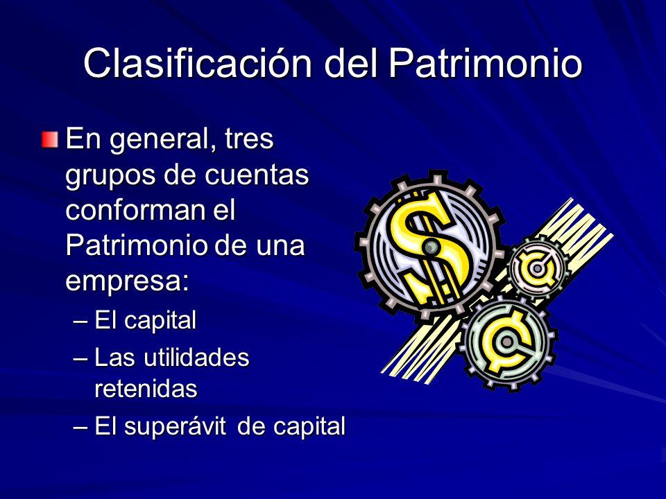 Clasificación del Patrimonio En general, tres grupos de cuentas conforman el Patrimonio de una empresa: –El capital –Las utilidades retenidas –El supe