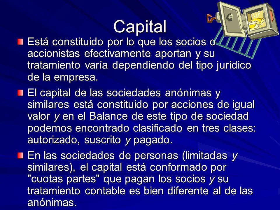 Capital Está constituido por lo que los socios o accionistas efectivamente aportan y su tratamiento varía dependiendo del tipo jurídico de la empresa.