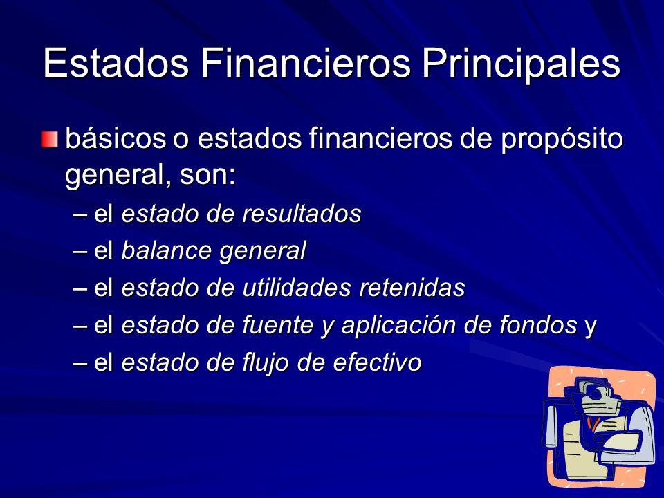 Estados Financieros Principales básicos o estados financieros de propósito general, son: –el estado de resultados –el balance general –el estado de ut
