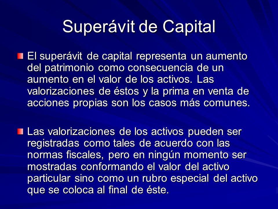Superávit de Capital El superávit de capital representa un aumento del patrimonio como consecuencia de un aumento en el valor de los activos. Las valo