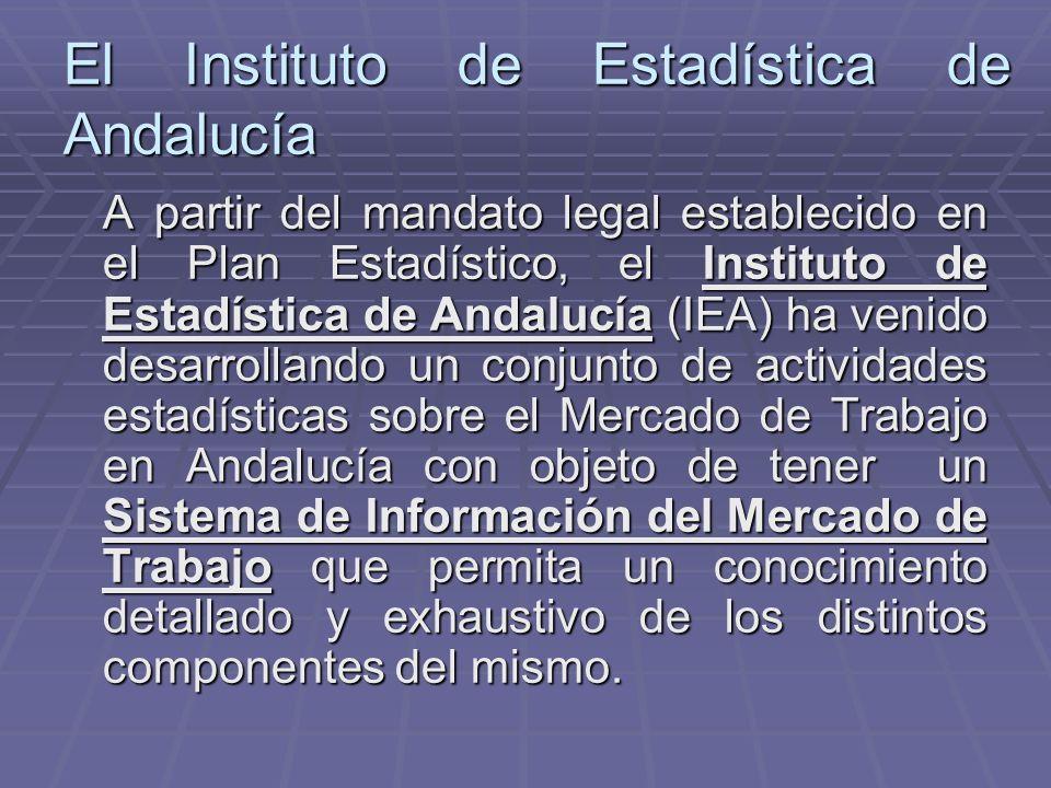 El Instituto de Estadística de Andalucía A partir del mandato legal establecido en el Plan Estadístico, el Instituto de Estadística de Andalucía (IEA)