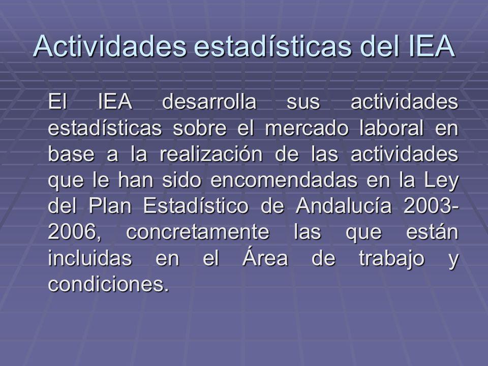 Actividades estadísticas del IEA El IEA desarrolla sus actividades estadísticas sobre el mercado laboral en base a la realización de las actividades q