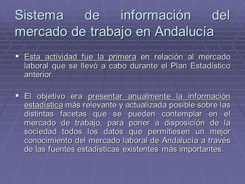 Sistema de información del mercado de trabajo en Andalucía Esta actividad fue la primera en relación al mercado laboral que se llevó a cabo durante el